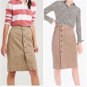 J. Crew Side Button Pencil Skirt Stretch Chino 00
